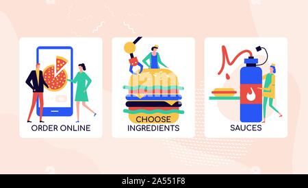 Ordering food online vector colorful banner template - Stock Photo