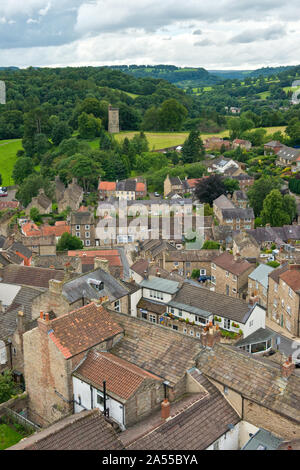 High level view (from castle keep) across Richmond market town looking toward Culloden Tower. North Yorkshire, England, UK - Stock Photo