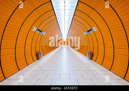 An image of the Munich Metro system, an underground rapid transit system. - Stock Photo
