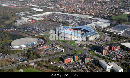 aerial view of the Middlebrook Retail & Leisure Park part of the Reebok development at Bolton, Lancashire - Stock Photo