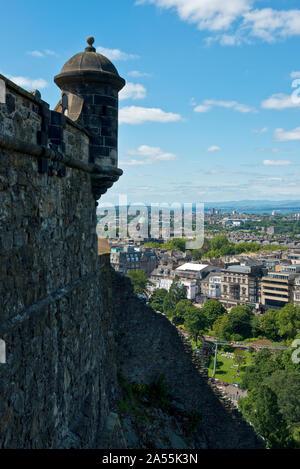 View north-west from Edinburgh castle battlements over the Edinburgh city centre. Scotland, UK - Stock Photo