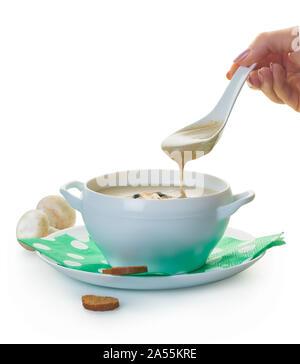 mushroom cream soup on a white isolated background - Stock Photo