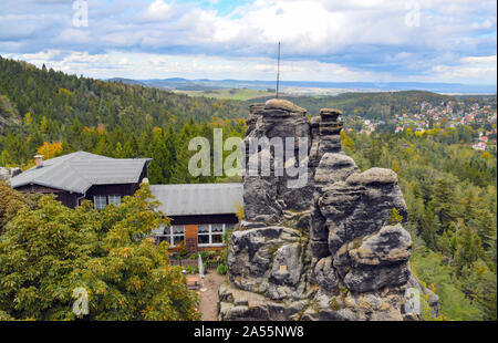 Jonsdorf, Germany. 09th Oct, 2019. The Nonnenfelsen mountain inn in the health resort of Jonsdorf in the Zittau Mountains on the border with the Czech Republic and Poland. Credit: Patrick Pleul/dpa-Zentralbild/ZB/dpa/Alamy Live News - Stock Photo