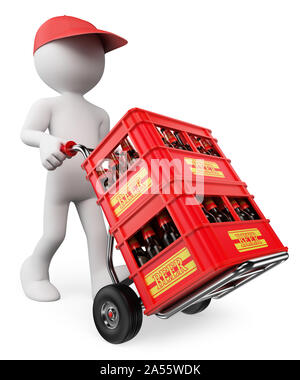 3d white people illustration. Man carrying beer crates. Isolated white background. - Stock Photo