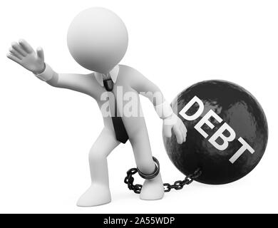 3d white people illustration. Businessman dragging his debts. Isolated white background. - Stock Photo