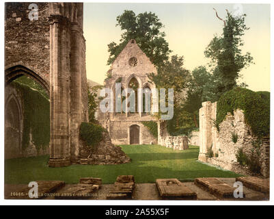 Valle Crucis Abbey, interior looking west, Llangollen, Wales - Stock Photo