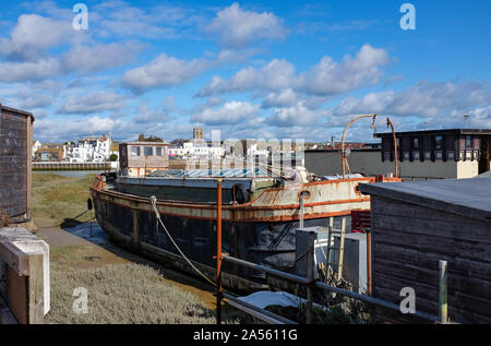 Shoreham by Sea West Sussex UK - Houseboats on the River Adur - Stock Photo