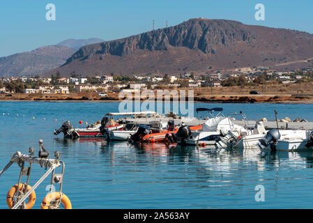 Gouves, Crete, Greece. October 2019.  The small fbeach at Kato Gouves a former US military air base near Herkalion, northern Crete. - Stock Photo