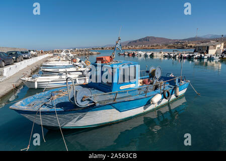 Gouves, Crete, Greece. October 2019.  The small fishing boat harbour at Kato Gouves a former US military air base near Herkalion - Stock Photo