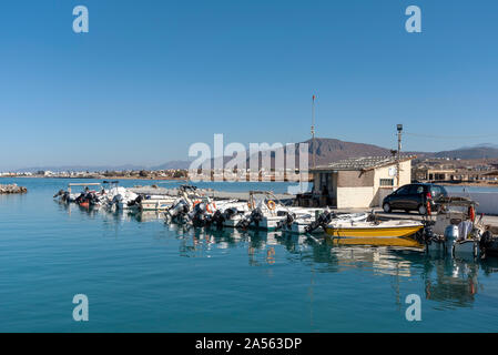 Gouves, Crete, Greece. October 2019.  The small fishing boat harbour at Kato Gouves a former US military air base near Herkalion Stock Photo