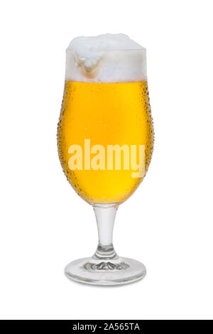 Full Belgium Ale with Condensation Foam Head Drip. - Stock Photo