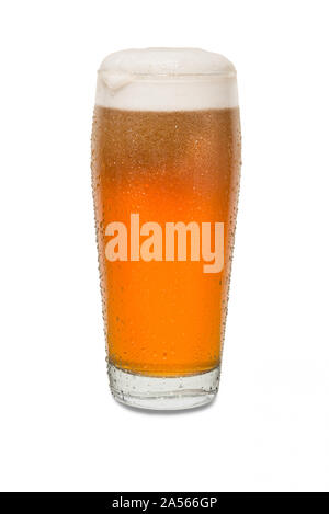 Freshly Poured Craft Pub Beer Glass with Dollop of Foam on Lip of Glass with Condensation #3. - Stock Photo