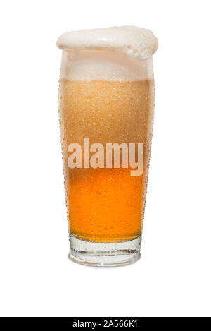 Sweated Craft Pub Beer Glass Overflowing with Beer #1. - Stock Photo