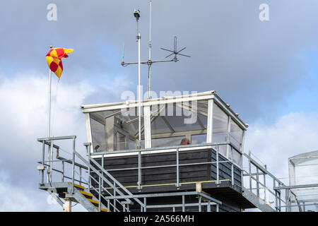 OLD WARDEN, BEDFORDSHIRE, UK ,OCTOBER 6, 2019.Control tower. Race Day at Shuttleworth. - Stock Photo