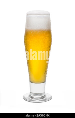 Classic Pilsner Beer with Condensation, with Foam Head #1. - Stock Photo