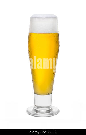 Classic Pilsner Beer with Condensation, with Foam Head #3. - Stock Photo