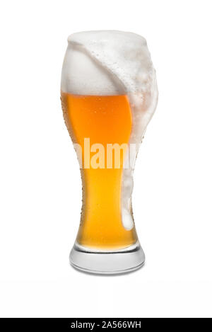 Isolated Wheat Beer, with Overflowing Foam Running Down Side. - Stock Photo