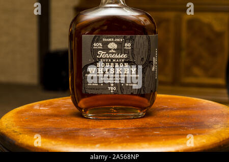 Trader Joe's brand Tennessee Bourbon Whiskey - Stock Photo