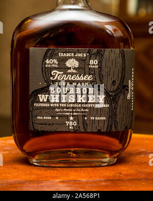 Trader Joe's brand Tennessee Bourbon Whiskey - Stock Photo