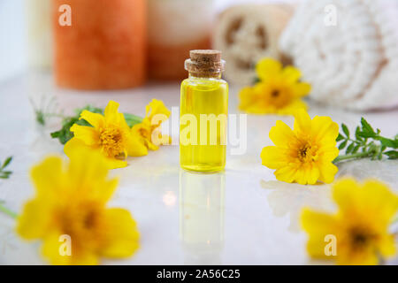 Flower essence in a small bottle with fresh marigold flower - Stock Photo