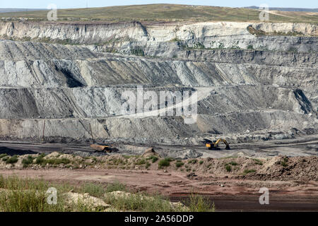 View into the Eagle Butte coal mine in Gillette, in Wyoming's Powder River Basin - Stock Photo