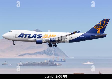 Lima, Peru – February 1, 2019: Atlas Air Boeing 747-400EF airplane at Lima airport (LIM) in Peru. - Stock Photo