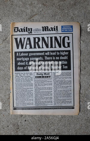 The Daily Mail warning against the election of a Labour government two days before the U.K.'s 1992 general election. - Stock Photo
