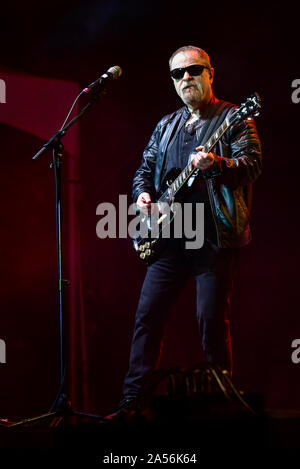July 4, 2019, Moapa Nevada, Eric Bloom of Blue Oyster Cult on stage at the Moapa Event Center In Moapa, Nevada. - Stock Photo