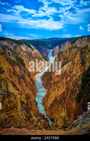Veiw of Lower Yellowstone Falls and the Grand Canyon of the Yellowstone at Yellowstone National Park, Wyoming, USA.