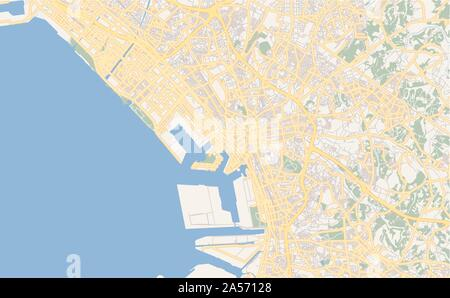 Printable street map of Chiba, Prefecture  Chiba, Japan. Map template for business use. - Stock Photo