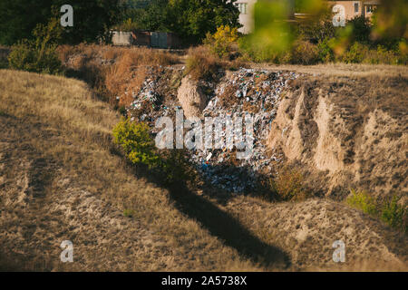 Garbage in trash dump or landfill. Pollution - Stock Photo
