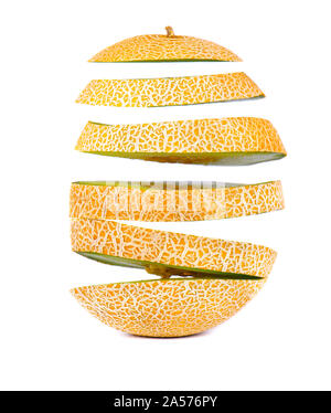 Flying slices of juicy and sweet melon, isolated on white background. Clipping path. - Stock Photo