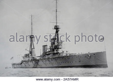 HMS Inflexible was a WW1 Invincible-class battlecruiser of the British Royal Navy,  the ship was launched in 1907 and scrapped in 1922 vintage photograph early 1900s - Stock Photo
