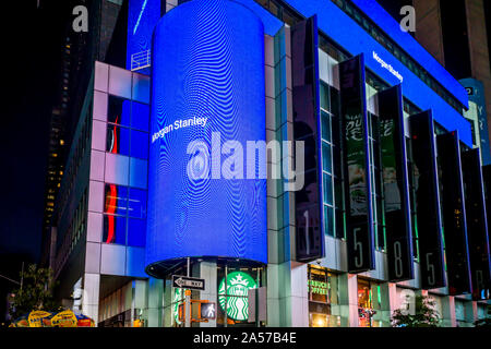New York,NY/USA-October 8, 2019 Morgan Stanley engages in self-promotion and displays a moiré pattern on the digital display on their building in New York on Thursday, August 1, 2019. (© Richard B. Levine) - Stock Photo