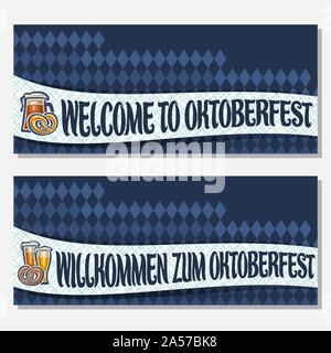 Vector banners for Oktoberfest with copy space, invite with bavarian pretzel, glassware with alcoholic beverages, tickets for german beer festival wit - Stock Photo