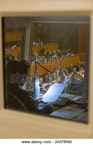 Translator booth. UN Economic and Social Council chamber. 73rd session of the United Nations General Assembly in 2018. - Stock Photo