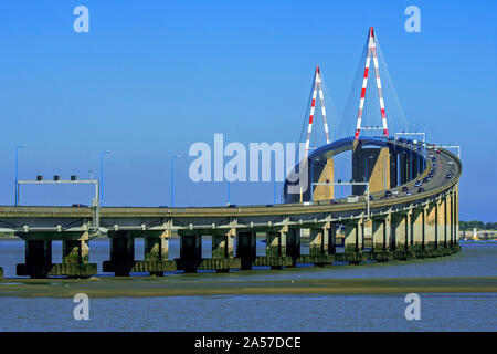 The St-Nazaire Bridge / Le pont de Saint-Nazaire, cable-stayed bridge spanning the Loire River, Loire-Atlantique, France - Stock Photo