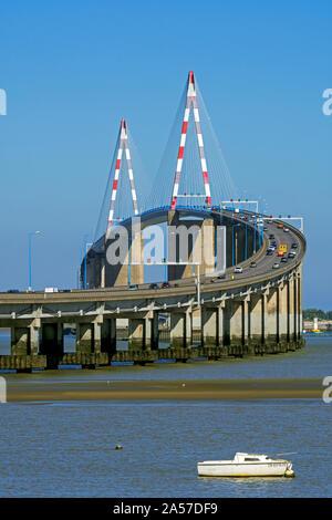 The St-Nazaire Bridge / Le pont de Saint-Nazaire, cable-stayed bridge spanning the Loire River, Loire-Atlantique, France - Stock Photo