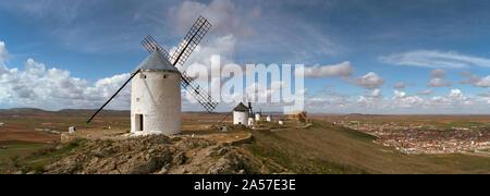 Traditional windmill on a hill, Consuegra, Toledo, Castilla La Mancha, Toledo province, Spain - Stock Photo