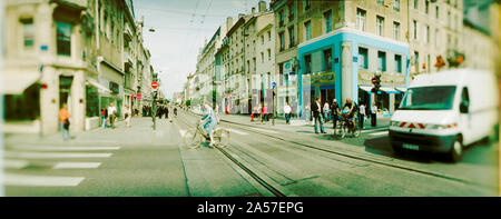 Busy street scene in a city, Nancy, Meurthe-et-Moselle, Lorraine, France - Stock Photo
