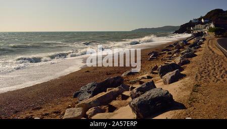 Waves breaking over the beach at Torcross, Devon (Slapton Sands). - Stock Photo
