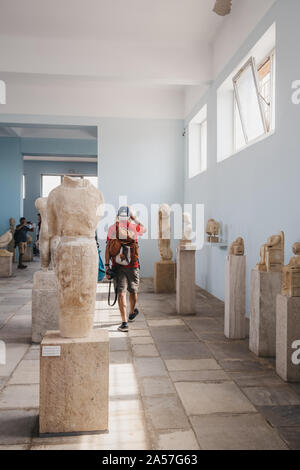 Delos, Greece - September 20, 2019:  Statues inside the Archaeological Museum of Delos, a museum on the historic island of Delos in the South Aegean, - Stock Photo