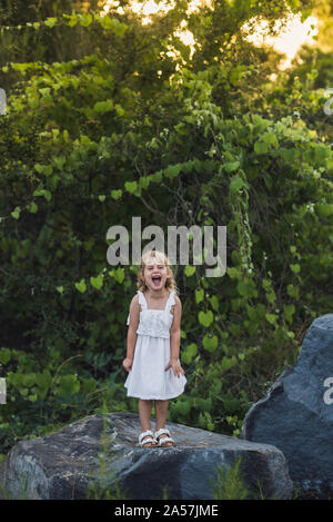 Ecstatic young girl in white dress on boulder in front thick foliage - Stock Photo