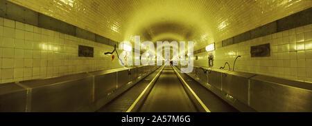 Underground walkway, Old Elbe Tunnel, Hamburg, Germany - Stock Photo