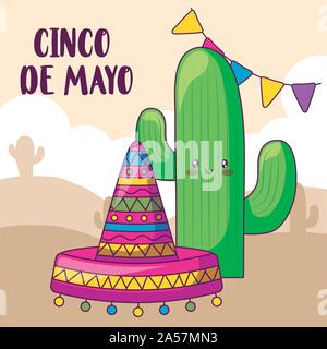 cinco de mayo label with cactus and mexican hat vector illustration design - Stock Photo