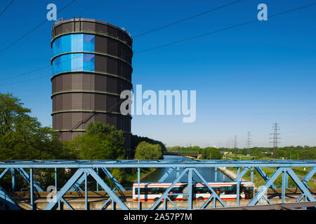 Gasometer at a shopping center, Oberhausen, Ruhr, North Rhine Westphalia, Germany - Stock Photo