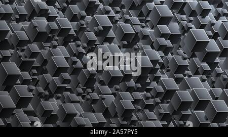 Abstract 3d cubes background. Black background connection with geometric cubes. Vector Illuatration - Stock Photo