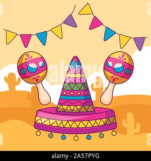 mexican hat with maraca and desert in the background - Stock Photo