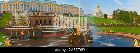 Grand Cascade fountain in front of the Peterhof Grand Palace, Petrodvorets, St. Petersburg, Russia - Stock Photo