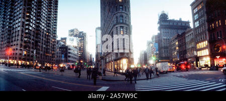Buildings in a city, Flatiron Building, 23rd Street, Fifth Avenue, Manhattan, New York City, New York State, USA - Stock Photo